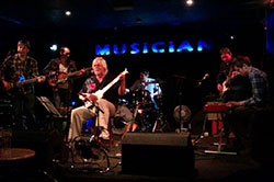On stage at The Musician, Leicester, with The Junipers, April 2013